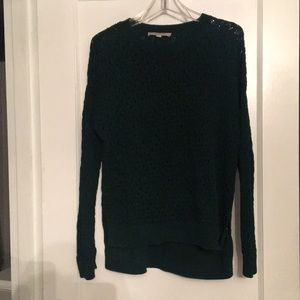 Open stitched, emerald green sweater.